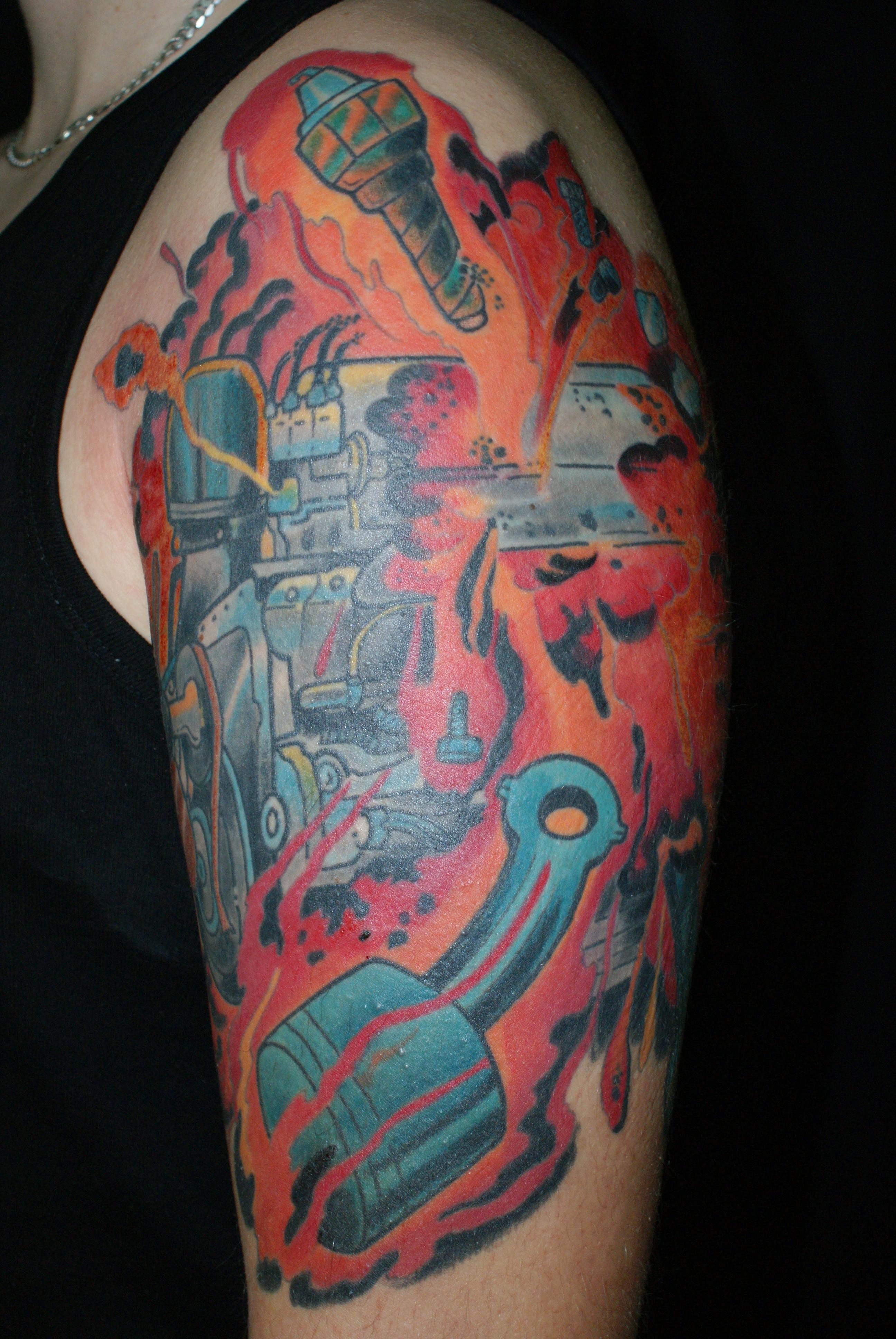 angel half sleeve tattoo,arrow